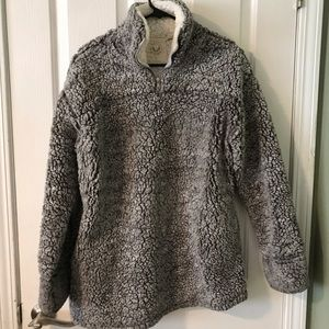 Vici- Heather Grey Sherpa POCKETED Pullover